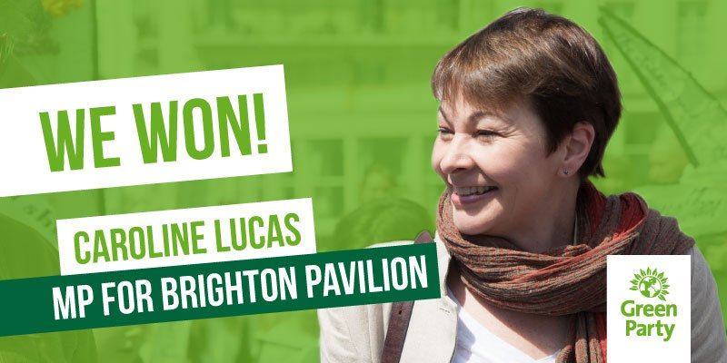 She bloody did it again. 30,139 votes. 52,3%. Congratulations @CarolineLucas