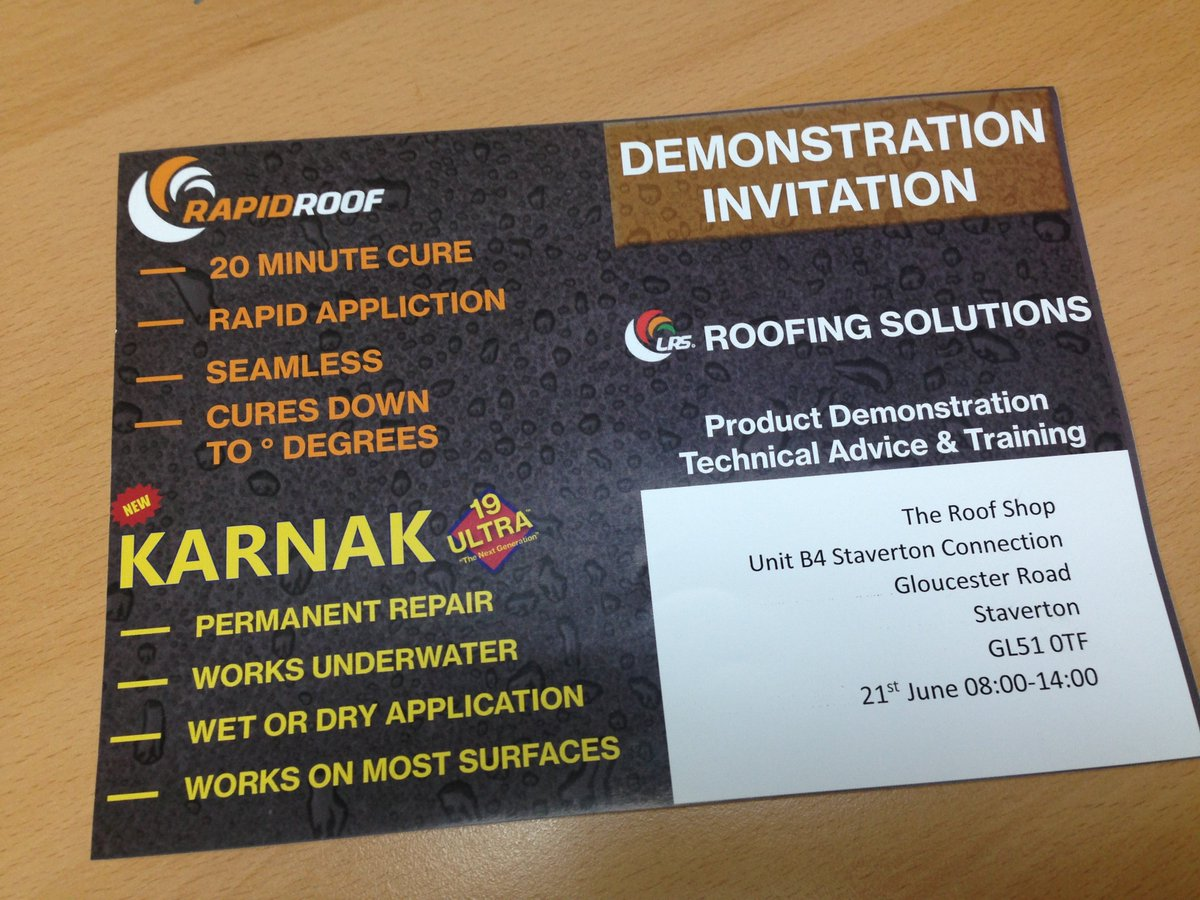 The Roof Shop On Twitter New Product Demonstration Invitation For Roofing Liquids 21st June From 8am Https T Co Myiwy5ez86