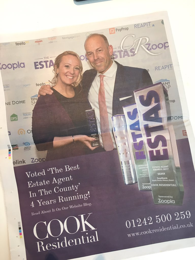 The @CheltStandard has landed on our desk, look who&#39;s on the back page!  You can read all about our #ESTAS win here:  http:// cookresidential.co.uk/Blog/proud-est as-winners-for-the-fourth-year-running &nbsp; … <br>http://pic.twitter.com/1AKzrWBe3V