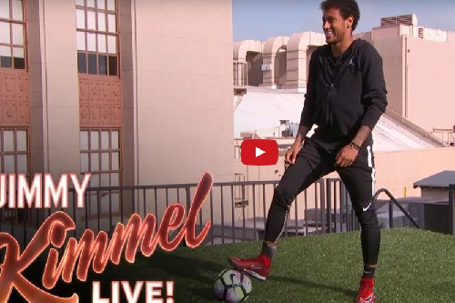 Neymar scored a crazy goal by kicking a soccer ball across rooftops in Hollywood. The other roof had Guillermo standing as goalie.