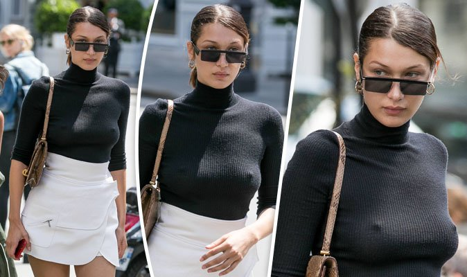 af43dfdb15d86 bella hadid flashes nipples as she goes braless in skintight jumper and  miniskirt