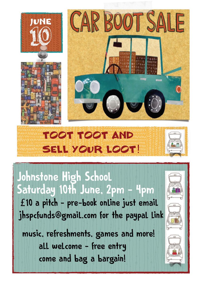Johnstone h s on twitter jhs car boot sale sat 10th 2 4pm indoor market bbq bargains prizes and games pitches 10 pay on the day or at