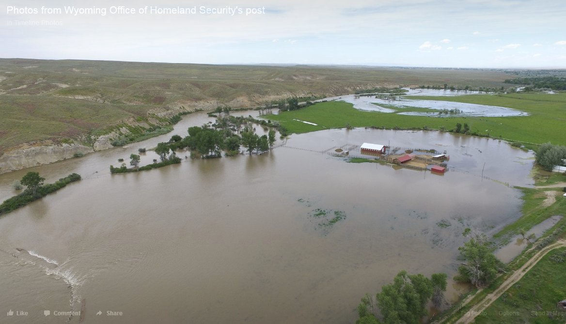 Here are aerial photos of the developing flooding in the Hudson, WY area, courtesy of Wyoming Office of Homeland Security. #wyflood #wywx