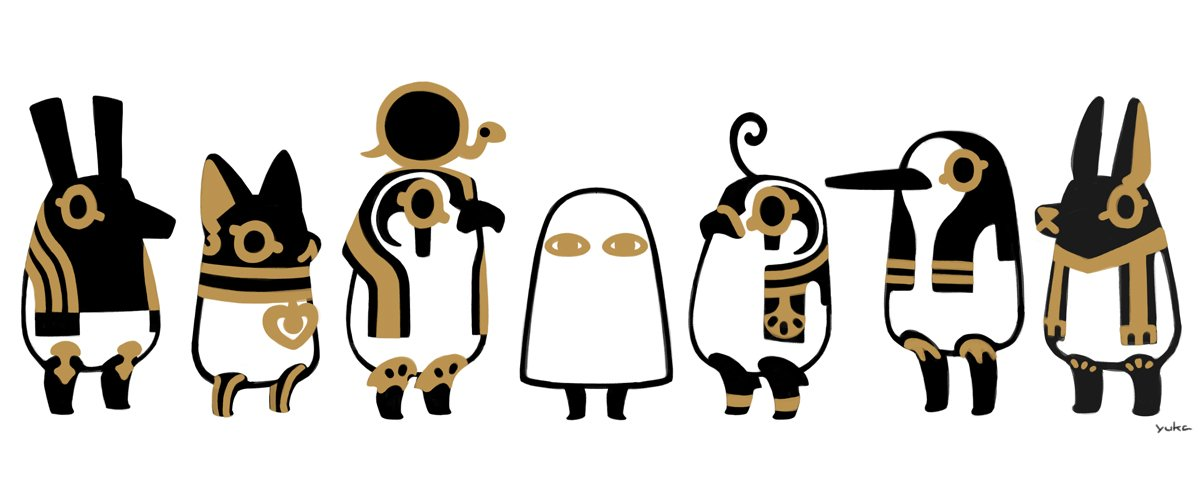 とーとつにエジプト神 並び変えたよ。センター、メジェド様の収まり具合が良過ぎて、どーにもならなかったw https://t.co/K5FX7yuXCT