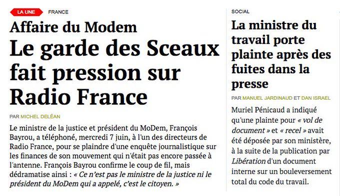 Le ministre de la Justice fait pression sur Radio France, celle du Travail sur Libération. A lire sur... https://t.co/29UlUZ8K0P