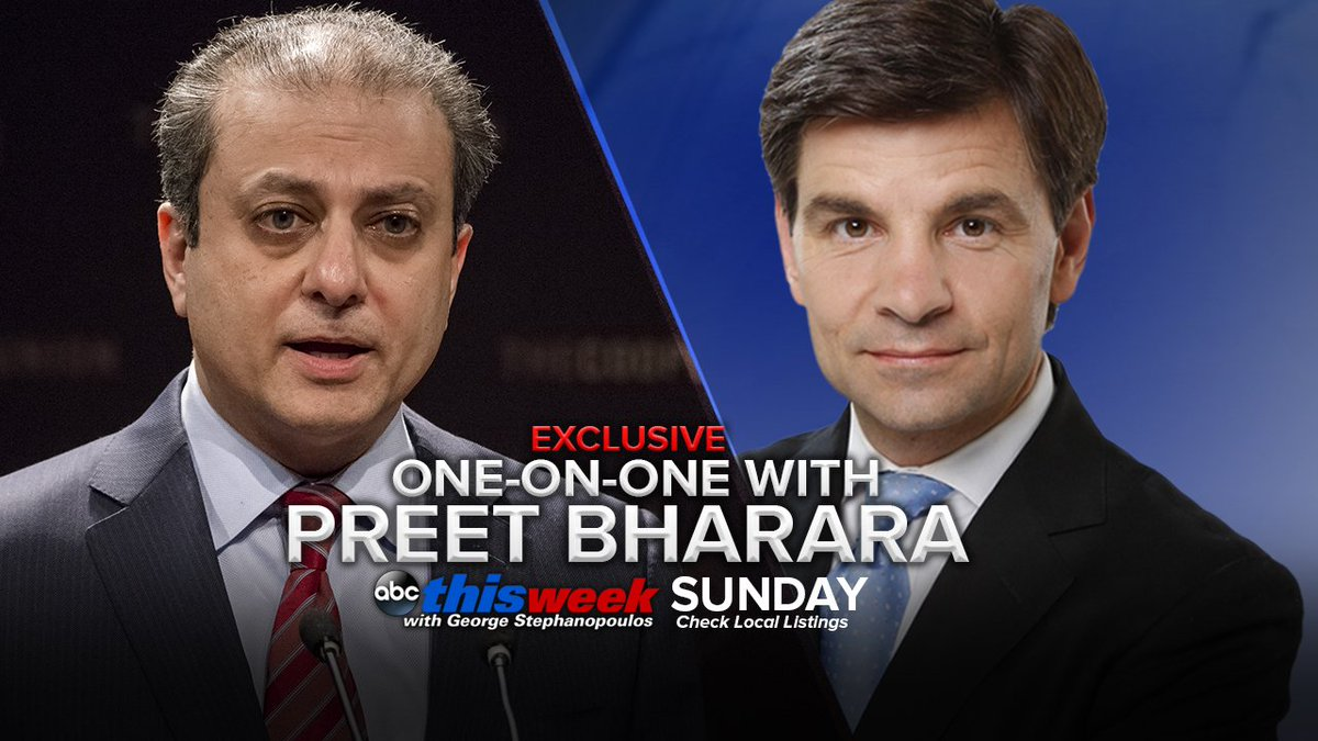 Image result for PHOTO OF PREET BHARARA WITH George Stephanopoulos