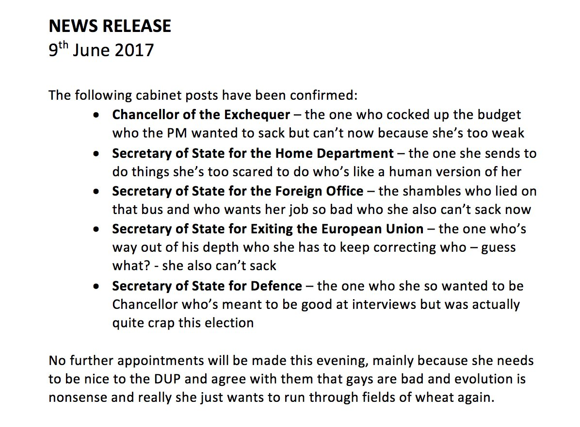 Full version of Downing Street press release confirming that the top 5 in the cabinet keep their jobs. https://t.co/4w4QXlqb2W
