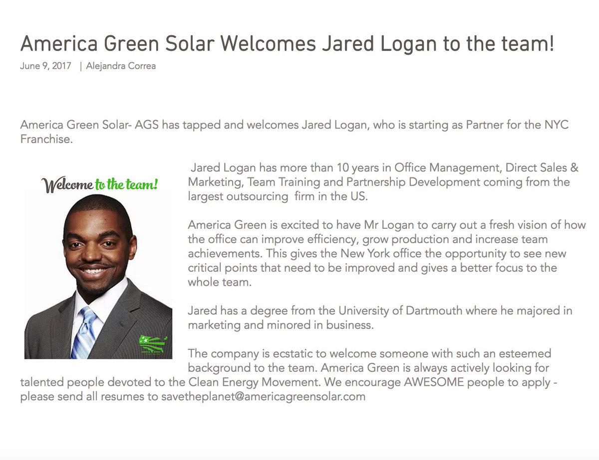 Press Release, Jun 9, 2017. Welcome to the team, Jared! #press #pressrelease #new #additiontotheteam #greencompany #sustainability #solar<br>http://pic.twitter.com/C3dJQnIJ6I