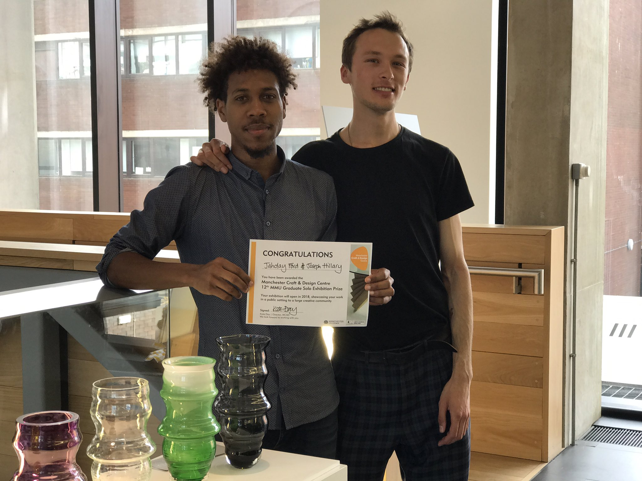 And the winners are... huge congrats to the TWO winners of our MMU Graduate Award this year - Joe Hillary & Jahday Ford #McrDegreeShow17 https://t.co/oK39NiGtvI