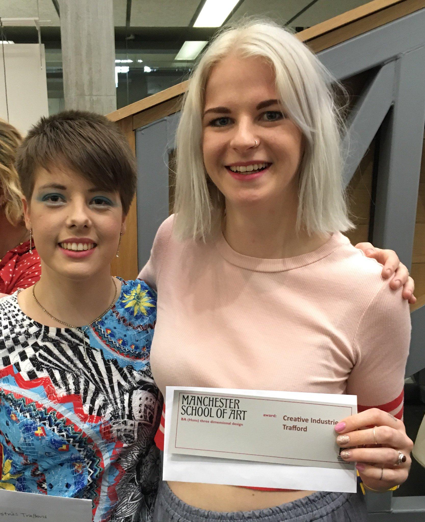 Fab @McrSchArt degree show today - Congrats @KatieNelsonStudio & Grace Leigh Igoe, winners of CIT Mentoring Award #McrDegreeShow17 https://t.co/dkGme9M7cU