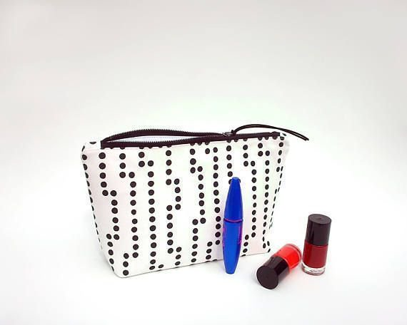Makeup bag, Large cosmetic bag waterproof, Make up bag, Large travel pouch, Black polka dots makeup pouch, Toiletry bag, Trousse maquillage