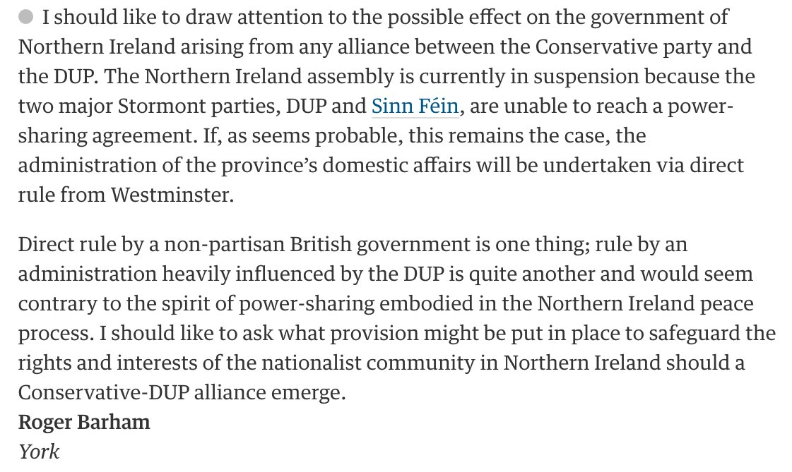 Being very serious, given awful history, isn't direct Westminster rule of NI by a DUP-Tory gov incredibly dangeroushttps://t.co/08O6NEehWJ?