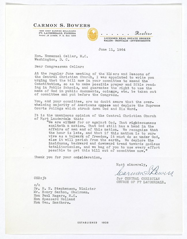 #OTD 1964, #FL citizens wrote Congress in favor of legislation to allow school prayer. #HouseRecords #RecordsSearch https://t.co/vCiULw6Cyf https://t.co/uGrCjQfegF