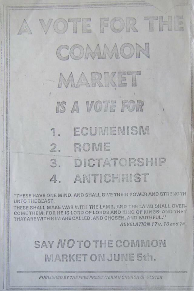 1973 #DUP original posters on joining the EEC! This is brilliantly bonkers!! https://t.co/YO50lc93hU