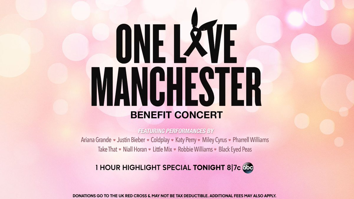 #WeStandTogether for the #OneLoveManchester benefit concert. Catch highlights again tonight at 8|7c on ABC.