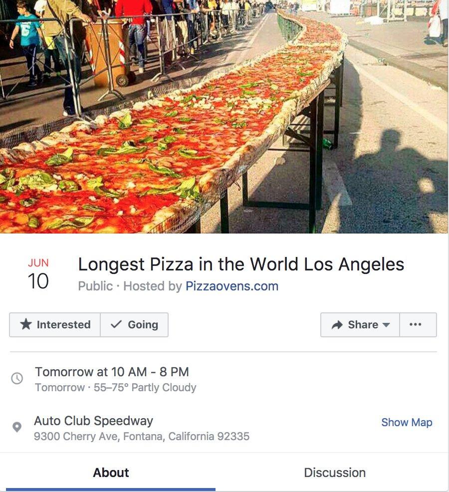 世界一長いピザを作るロスのイベント行きたい https://t.co/0O3R2cwoc0