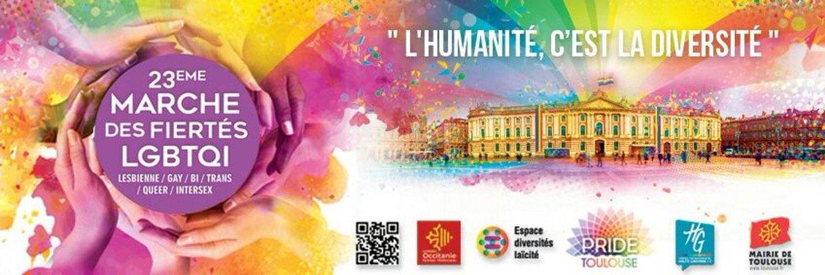 'L'humanité c'est la diversité' bonne marche des #fiertés aujourd'hui à #Toulouse !