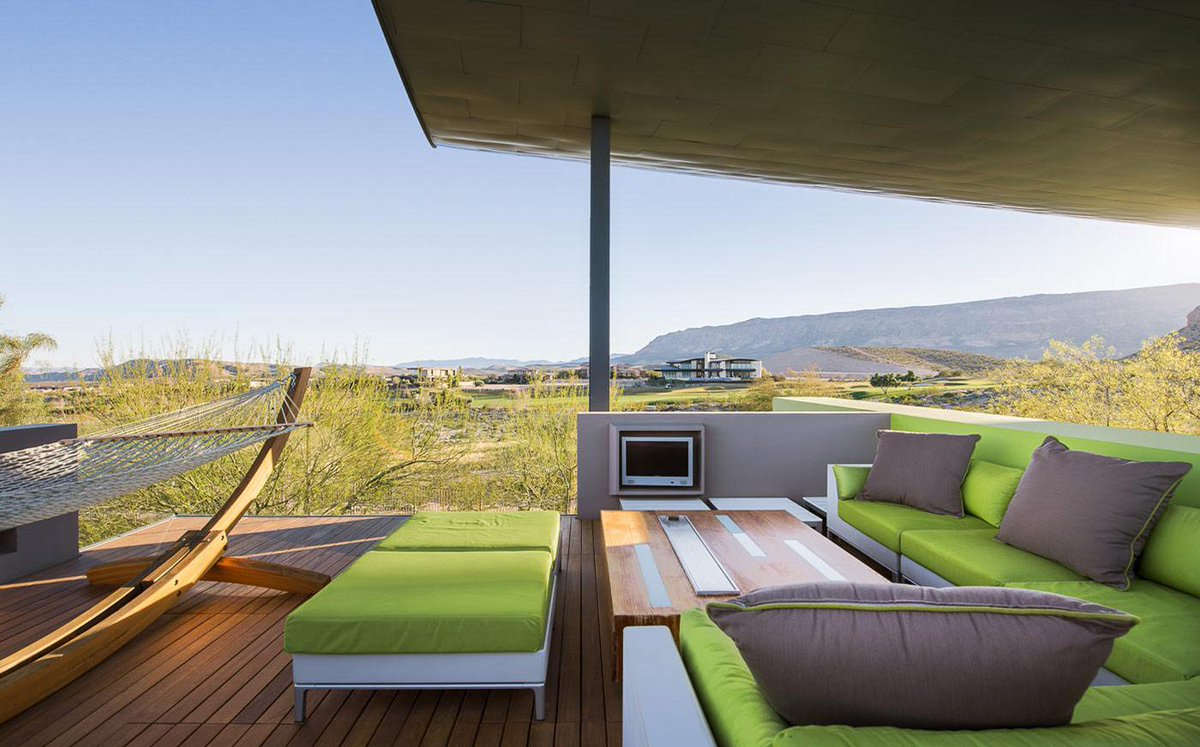 Beautiful outdoor living #ViewOfNature #LimeGreenAccent #Relaxation #OutdoorLiving #WoodWork