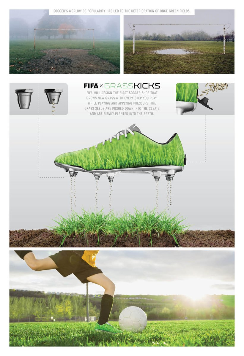 VERY COOL: @FIFA designs soccer cleat that plants seeds and aerates deteriorated soccer fields. #sportsbiz https://t.co/gwGaRqOOxi