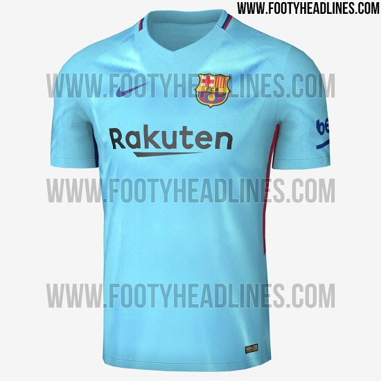 ba5e84d12 So here s the updated 2017 18 Away Kit. Will have less red on it than on  the samples. Sky blue with Black   Blaugrana color details.pic.twitter.com   ...