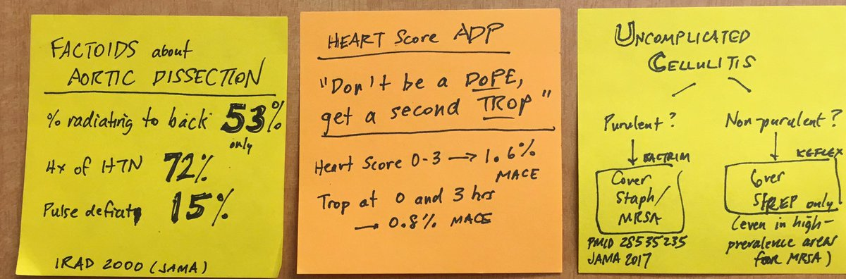 """Great shift. #Postitpearls on dissection, ❤️ pathway's """"don't be a dope, get a second trop"""", and abx for cellulitis https://t.co/HH0fShCVT9"""