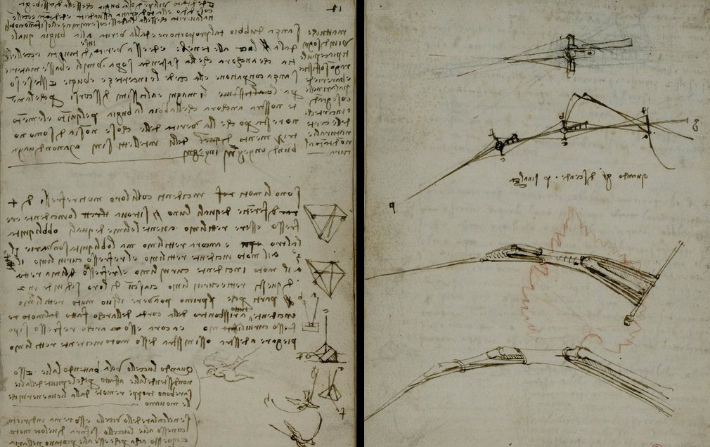 """Leonardo #DaVinci's """"Codex on the Flight of Birds"""" (c1505), with his drawings + notes in mirror writing. Zoom in: https://t.co/Nfp44g4Nni https://t.co/5uz88tkRMT"""