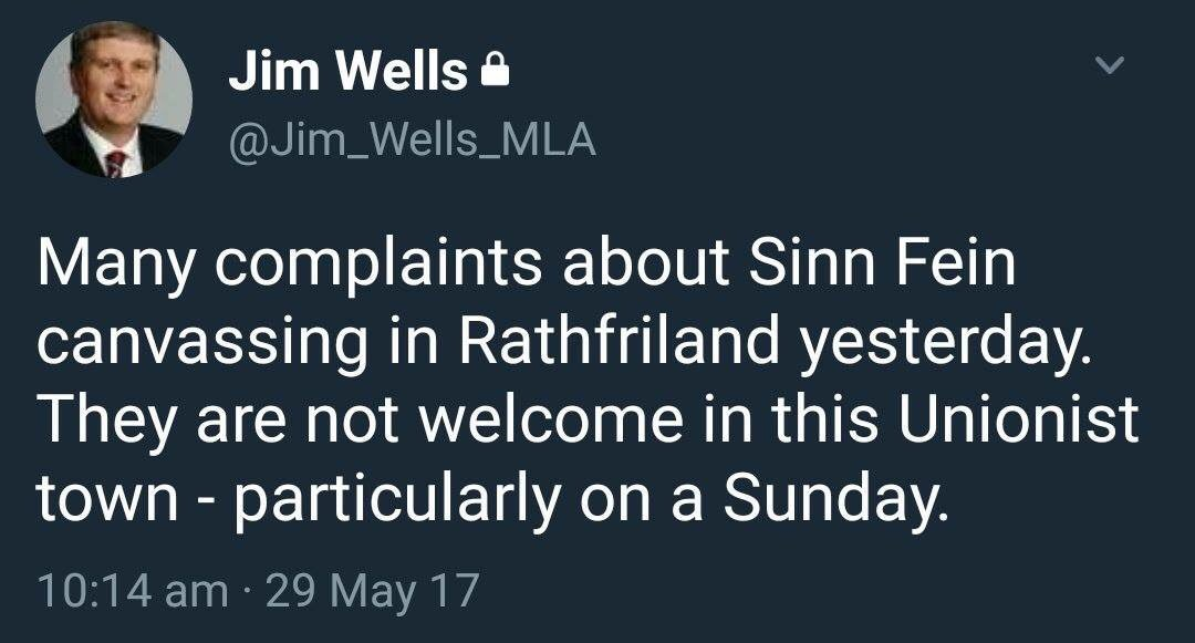 The days of people like @Jim_Wells_MLA dictating where people can go are long gone. Hard though that is for them to swallow! #Equality #GE17<br>http://pic.twitter.com/Icu30DFyra
