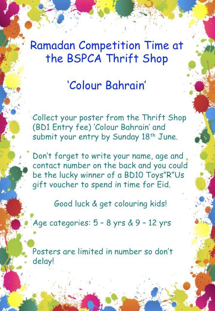 Compeion Time Colour Bahrain Win A Bd10 Toys R Us Voucher Collect Your Poster From The Thriftshop Map Http Bspca Org Thrift Shop