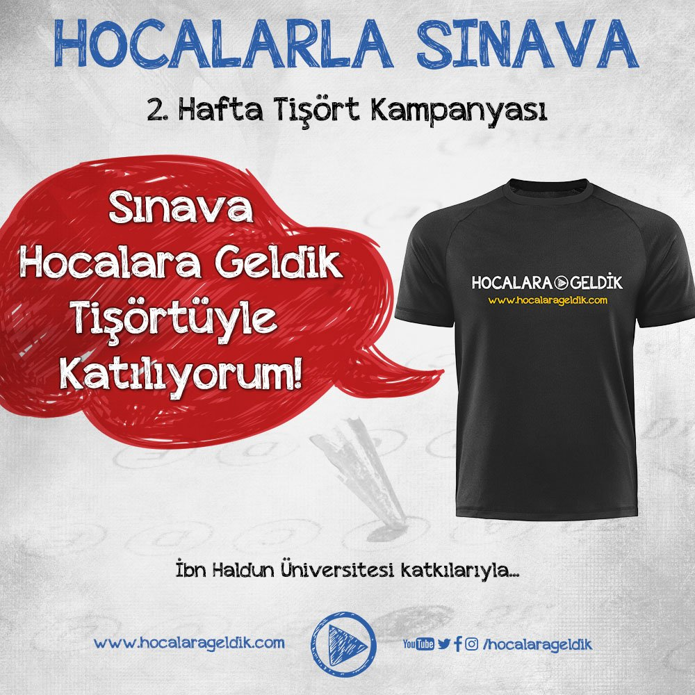 Paylaşılan görseli Twitter üzerinden #hocalarlasınava etiketiyle twitleyen ve RT yapan arkadaşlarımız arasından 100 kişiye tişört hediye! https://t.co/0w1pTJNvOE