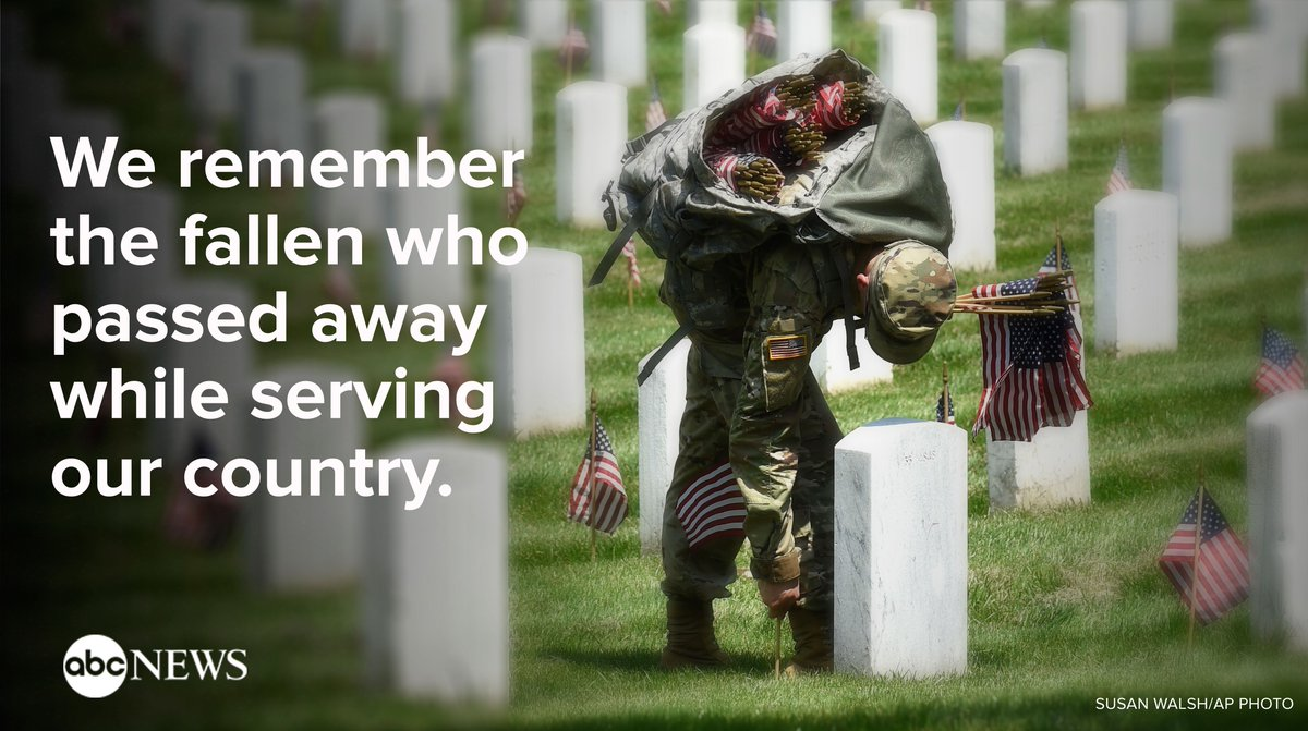 On this Memorial Day, @ABC News remembers the fallen who passed away in service of our country. https://t.co/O0pXTKDQ3y