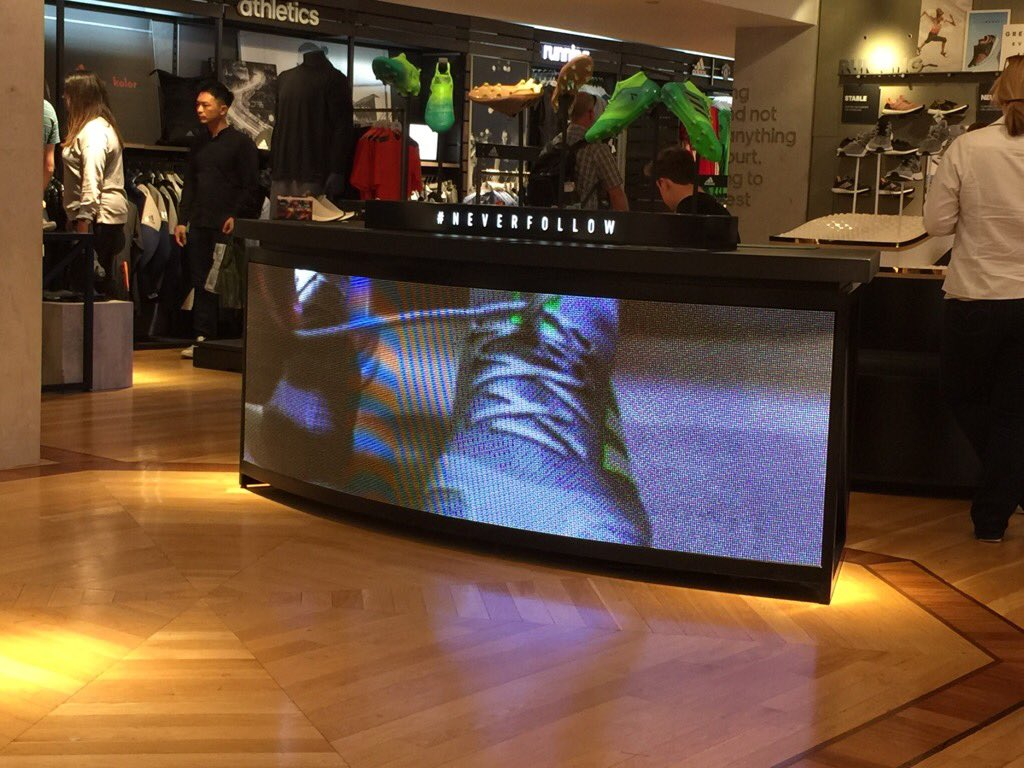 We know that LED is good enuf&#39; for indoor retail these days BUT Adidas&#39; LED 4 #neverfollow in Harrods is not good <br>http://pic.twitter.com/tk4WIZVG0g