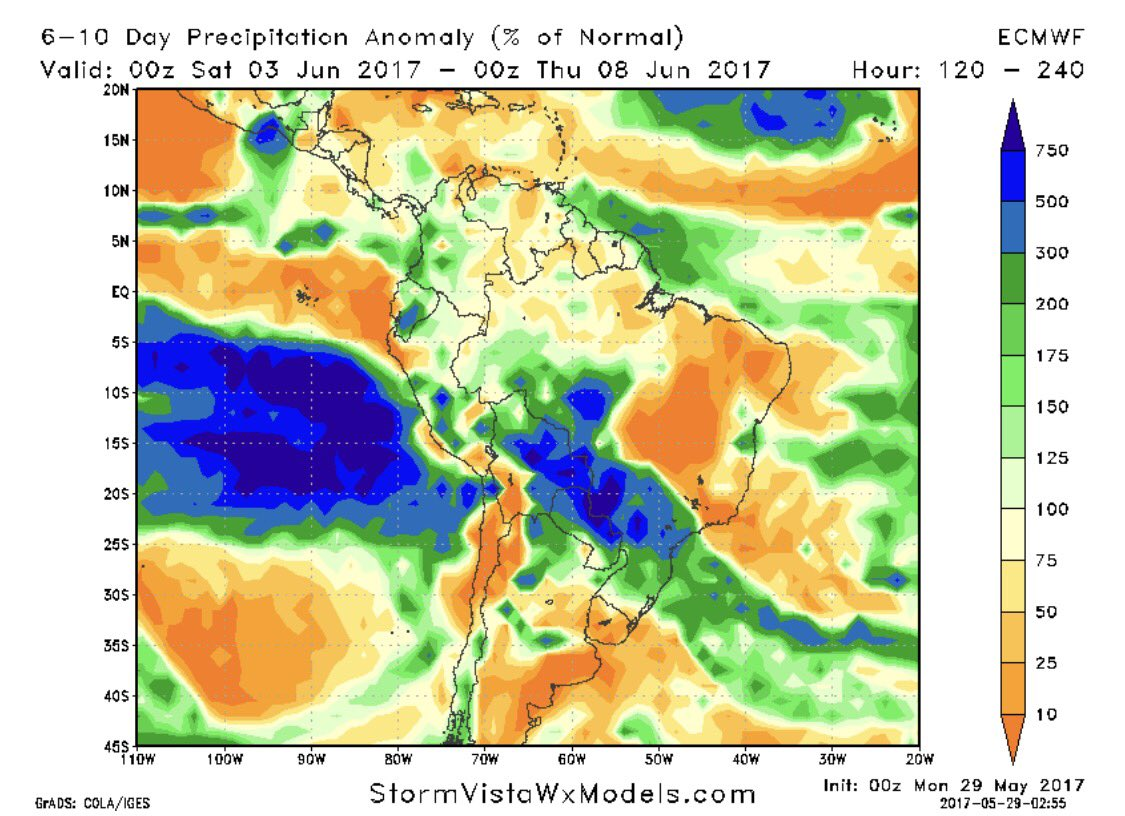 Any #safrinha harvest remaining in #Brazil next 10 days likely on hold...major wet signal, 500%+ rains forecasted! #AGwx #Harvest17 #corn<br>http://pic.twitter.com/dbuIfC1Xgi