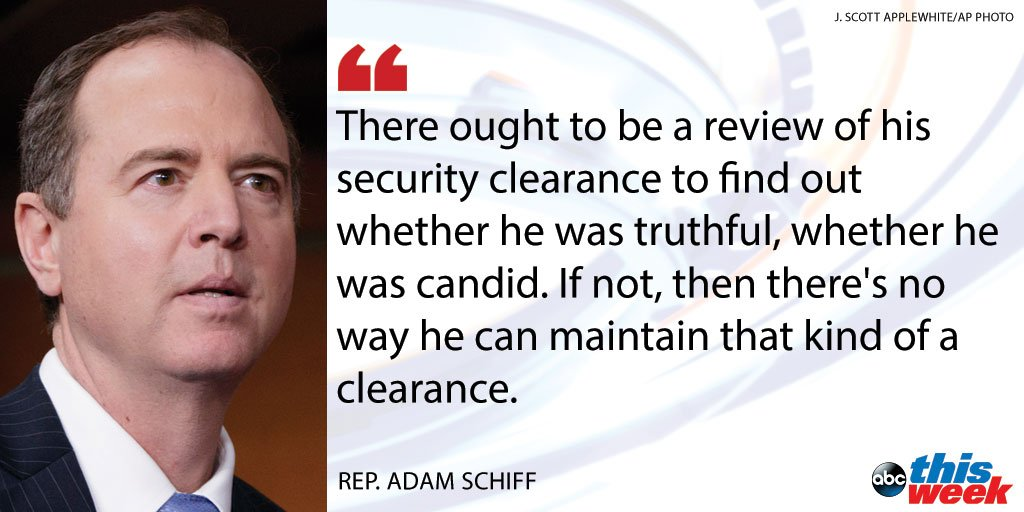 Rep. Adam Schiff, top Dem on House Intel Committee, calls for review of Jared Kushner's security clearance. https://t.co/tWiUbSzWoe