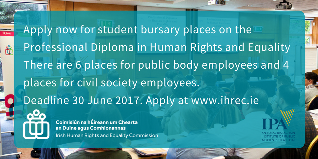 Working in NGO or public service? 10 bursaries available now for IPA Diploma in #HumanRights &amp; #Equality. Learn more  http:// bit.ly/2pu4iBv  &nbsp;  <br>http://pic.twitter.com/CUWoRliOZg