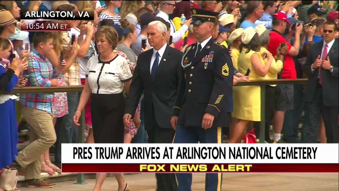 .@VP Pence arrives at Arlington National Cemetery.