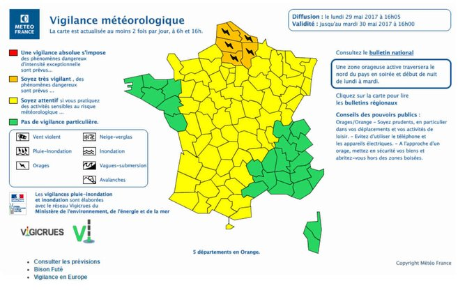 Orages: cinq départements du nord placés en vigilance orange https://t.co/igrJpjN9He