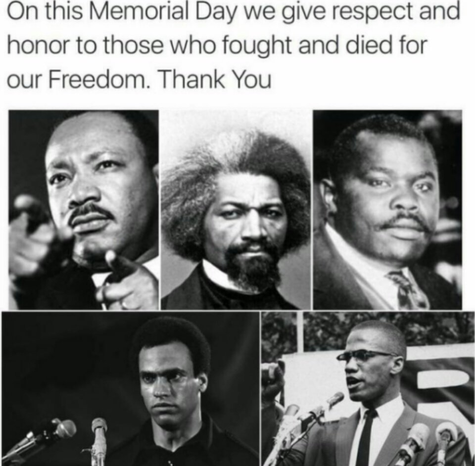 Let us remember those who fought for #CivilRights #equality and #Justice for all people of color on this #MemorialDay<br>http://pic.twitter.com/6CQzqaShOJ