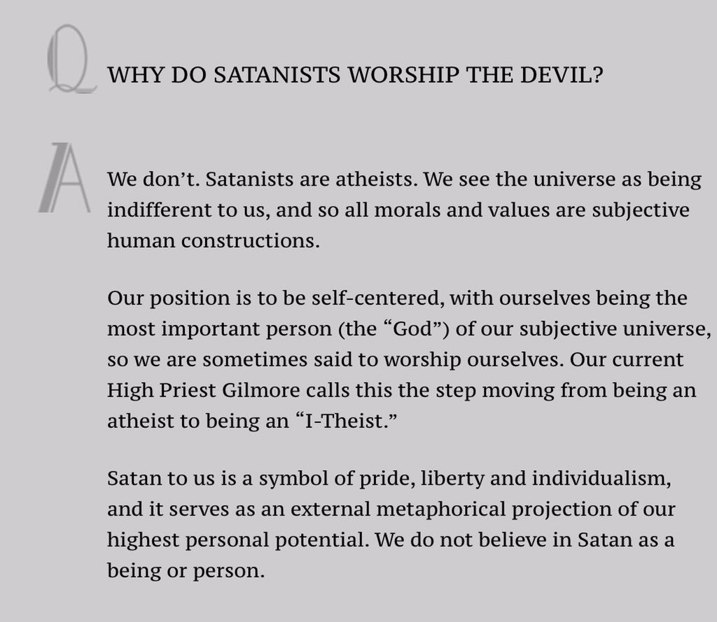The Church Of Satan On Twitter Our Faq Is Clear Satanism Is Not