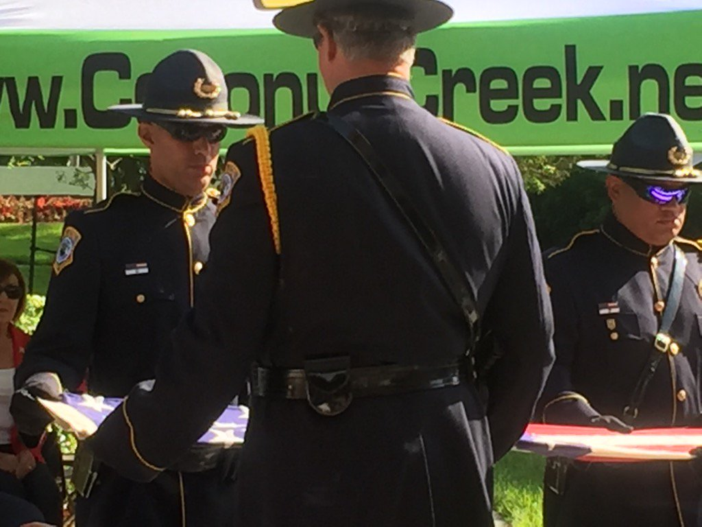 #MemorialDay tribute to those who lost their lives so we can live free #our SRO Officer Almazar  #flag folding<br>http://pic.twitter.com/IsKEbJF8y4