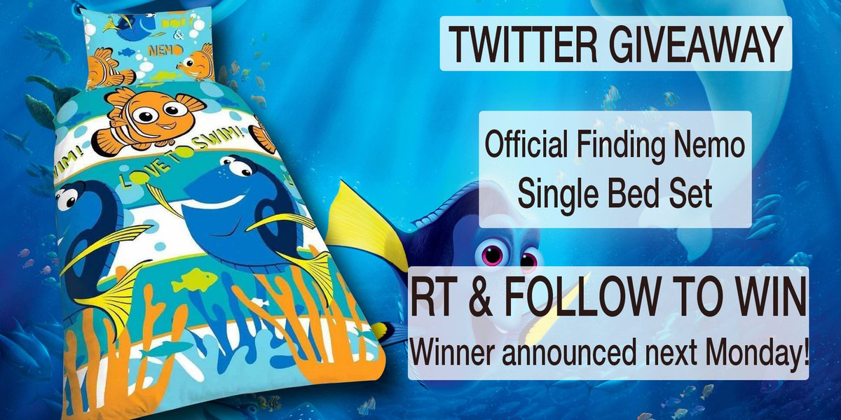 #FindingDory Duvet #Giveaway! #Follow &amp; RT to #win! Ends 5/6 #competition #MondayMotivation #prize #compers #free #prizes #contest #Disney<br>http://pic.twitter.com/qOwgPPgNg6