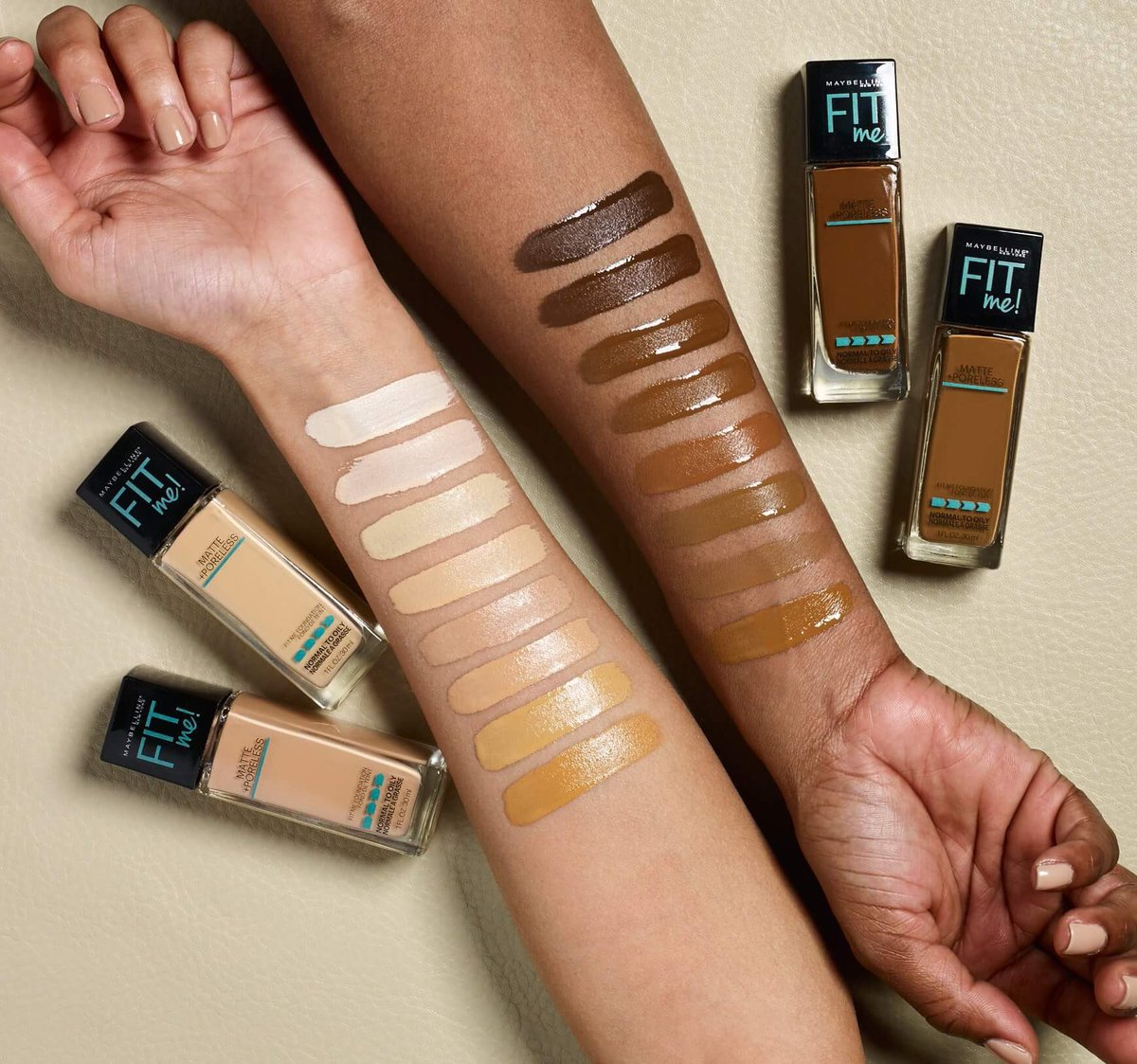 We launched 16 NEW shades of our #FitMeFoundation! 👊🏻👊🏼👊🏽👊🏾👊🏿 Available online at all Maybelline retailers and in-store only at @Walmart.