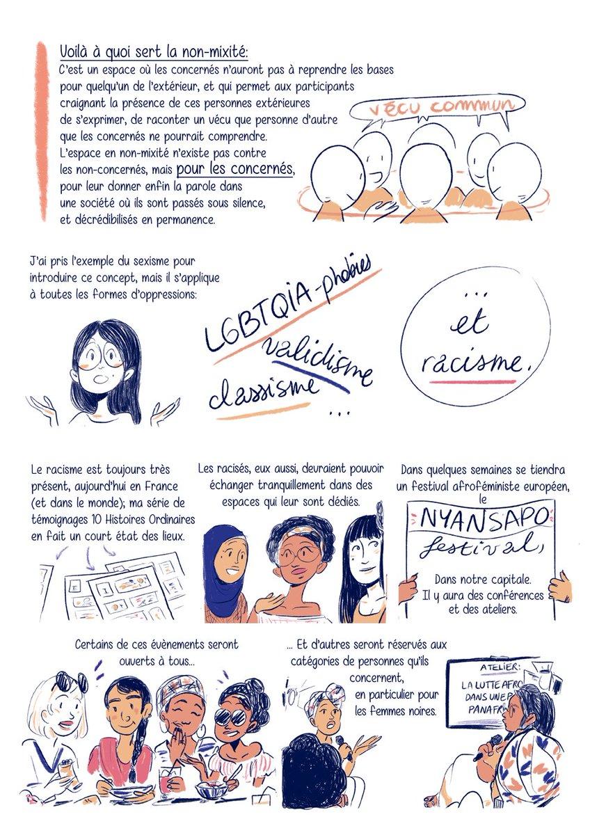 La non-mixité, à quoi ça sert? 🤔 Voici, en BD, pourquoi elle est vitale pr les luttes! ✊🏼✊🏾✊🏿 #JeSoutiensMWASI HD: https://t.co/0VdQHBeA1z