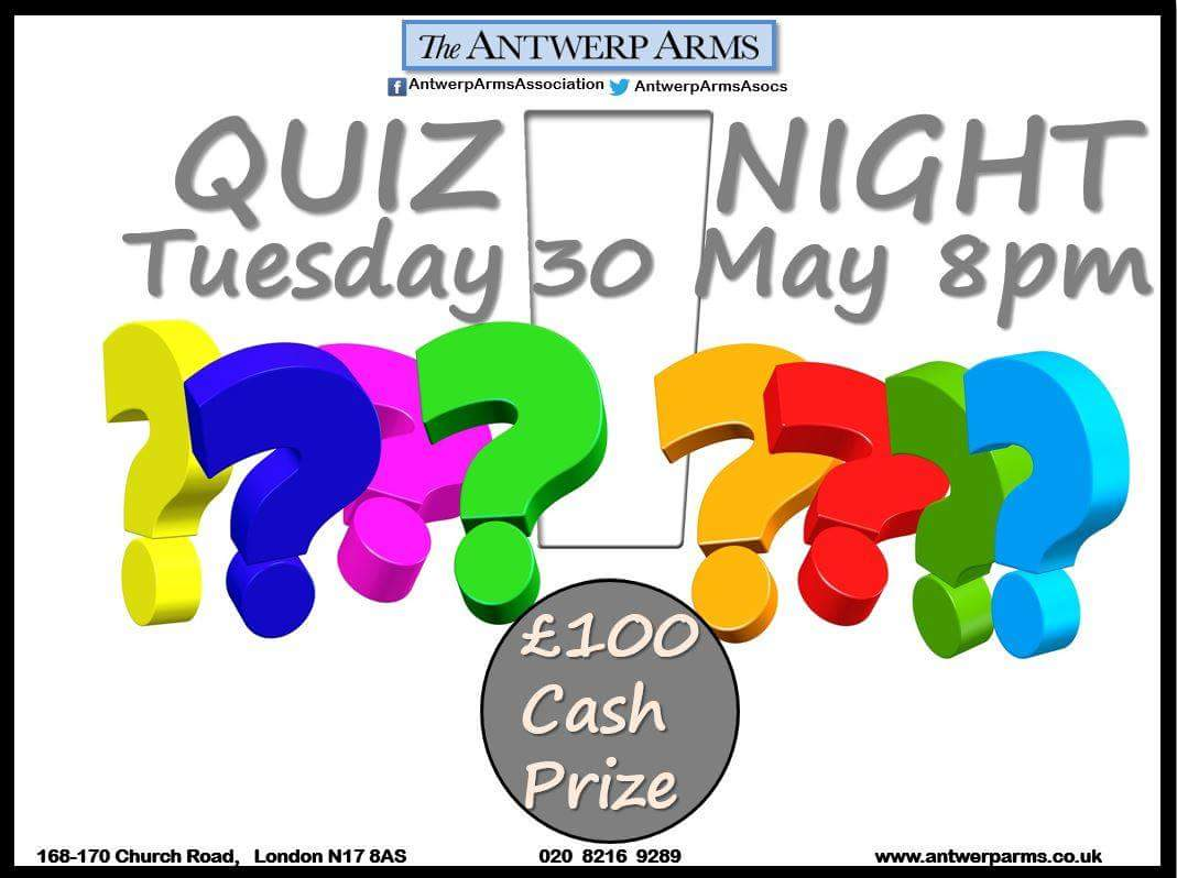 Our #quiz  master is back tomorrow. @RichRJohnstone. Join us for trivia, frolic and fun. Are your teams ready to win £100 prize?  #tottenham<br>http://pic.twitter.com/TjJMPzp9dn