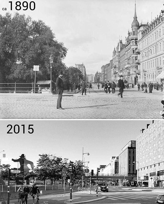 Stockholm, Sweden - before and after Modernism.  This was a self-inflicted wound. They were not bombed during the war.   #Sweden <br>http://pic.twitter.com/s1STdjgIg2
