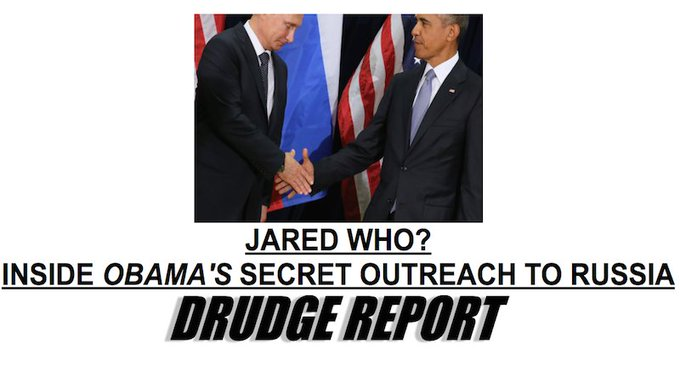 Bots push two-year-old story on Obama and Russia all the way to the top of today's Drudge Report https://t.co/apLJn810Dd