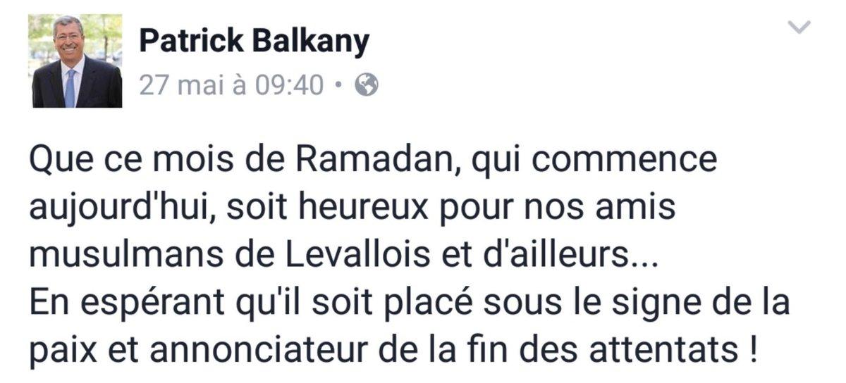 Patrick Balkany souhaite un joyeux ramadan aux musulmans tout en les associant au terrorisme