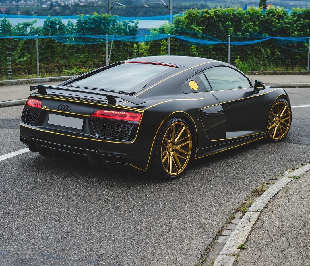 Audi Daily On Twitter Matte Black R8 V10 Plus With Gold Details