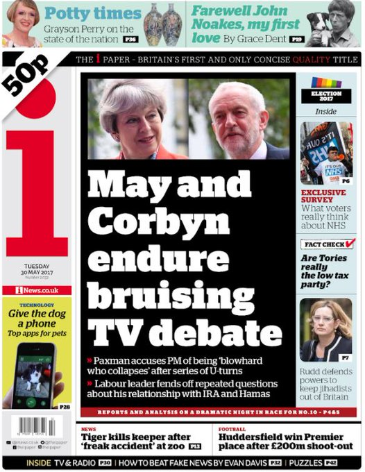 Our front page tomorrow: @theresa_may and @jeremycorbyn endure bruising TV debate #BattleForNumber10