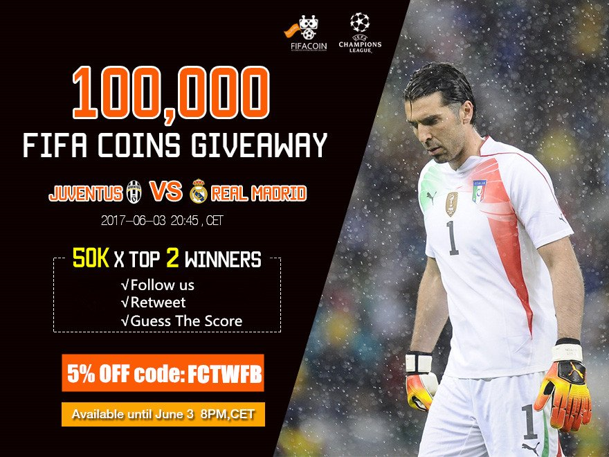#R.Madrid V #Juventus #ChampionsLeague Follow Us Retweet&amp;Guess the Score!!! 100K COINS ready for U! Coins NOW:  https:// goo.gl/6tT9tR  &nbsp;  <br>http://pic.twitter.com/KMFi2ylD5u