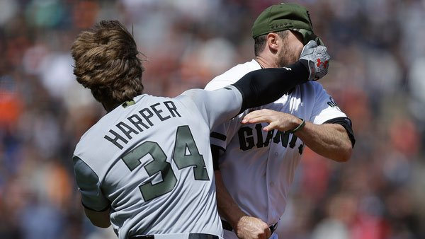 Bryce Harper, Hunter Strickland punch away in Nats-Giants bench-clearing brawl https://t.co/Hky6nLPMPw